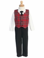 Red Plaid Vest w/ Black Pants