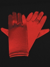 Red Short Satin Gloves