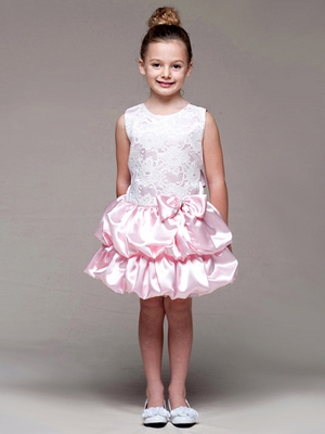 Pink Lace Bodice w/ Layered Bubble Skirt Dress