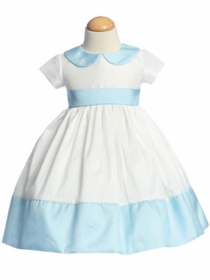 Blue Flower Girl Dresses - Round Collar Taffeta Dress
