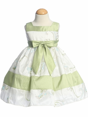 Apple Green Flower Girl Dresses - Ribbon Embroidered Taffeta Dress