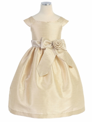 Champagne Aurora Sash Dupioni Dress