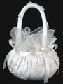Ivory Embroidered Satin Basket