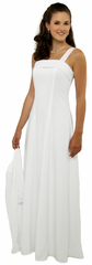 All White Lined Ariette Dress