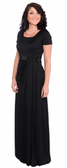 Short Sleeve (Ostinato) Long Formal Occasion Dress with Sequins