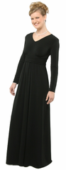 Long Sleeve Knit Cummerbund Dress <br>Will Ship in 4-6 Weeks