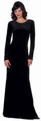 Long Sleeve Stretch Velvet Formal Dresses