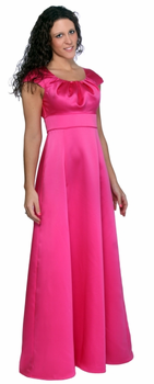 Pleated Scoop Neckline  (Rosaria) Modest Bridesmaids Dresses