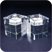 Square Crystal Tea Light Candle Holder ( 2 pc/package)