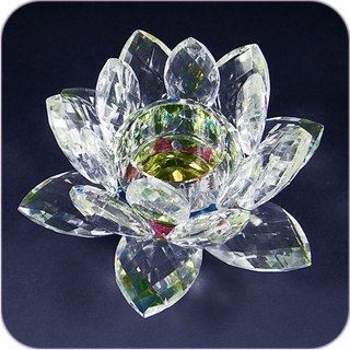 "Rainbow Crystal Lotus 5"" Candle Holder"