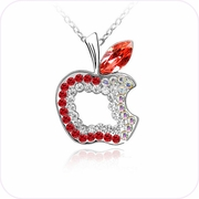 Sparkling Red Apple Pendant Necklace #24054