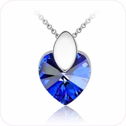 Sparkling Azure Heart Crystal Pendant Necklace #24092