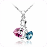 Couples of  Swan Crystal Pendant Necklace #24151
