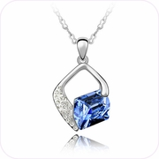 Radiant Blue Crystal Pendant Necklace #24365