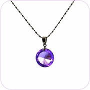 Diamond-Shapped Amethyst  Crystal Pendant Necklace #10040