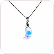 Twinkling Aurora Moon Crystal Pendant Necklace #10070