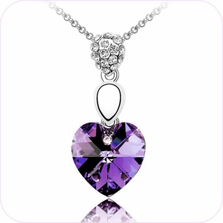 Glam Purple Heart Pendant Necklace #24098
