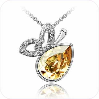 Briollette Pear Crystal Pendant Necklace #24111