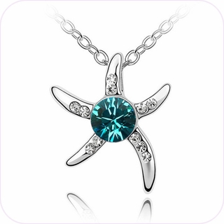 Blue Sparkle Starfish Pendant Necklace #24167