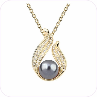 Sparkling Smoky Pearl Pendant Necklace #22886