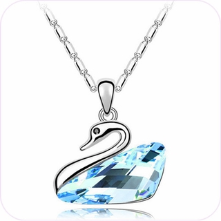 Aqua Crystal Swan Pendant Necklace #24364
