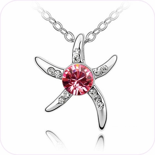 Pink Sparkle Starfish Pendant Necklace #28005