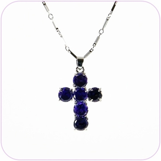 Blue Cross Crystal Pendant Necklace #10010