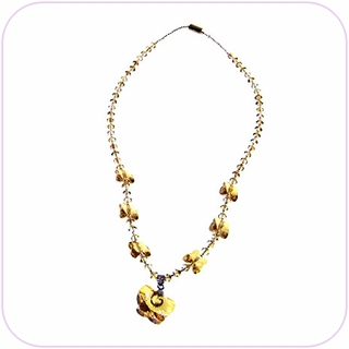 Golden Butterflies Crystal Necklace #20030