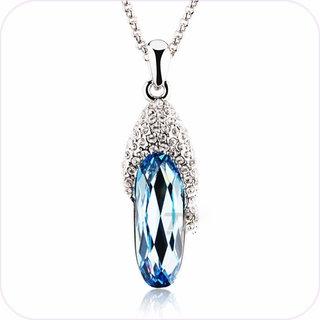 Azure Stalactite Crystal Pendant Necklace #23782