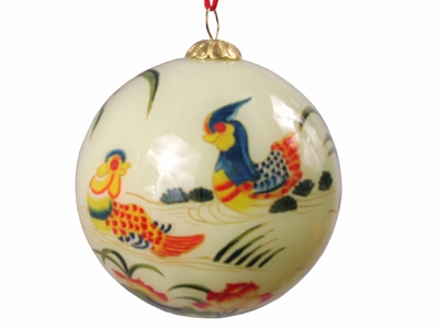 Mandarin Ducks Eglomise Glass Ornament