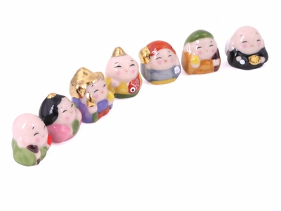 Miniature Ceramic Figurines of Japanese Seven Lucky Gods
