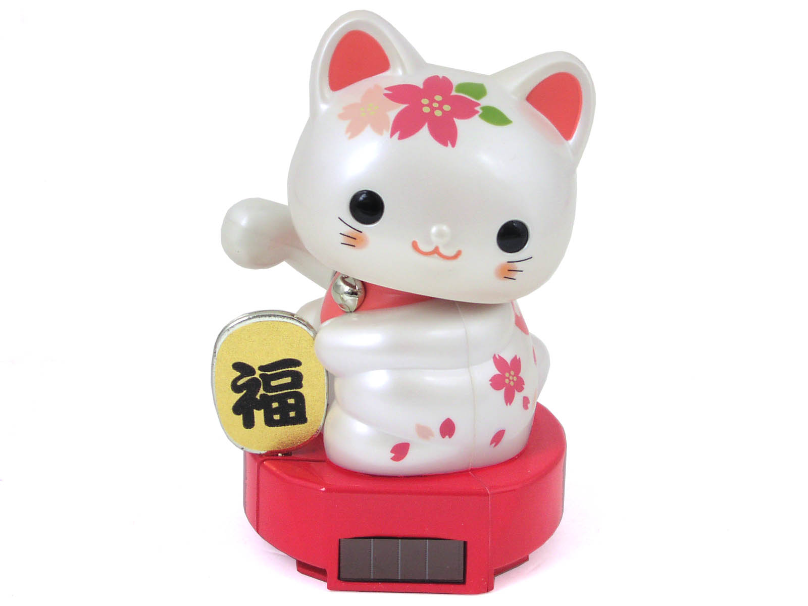 Cherry Blossom Pink and White Solar Powered Maneki Neko or ... - photo#32