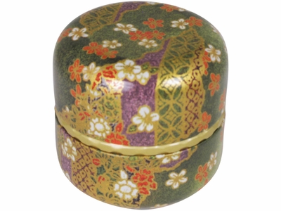 Green, Gold and Purple Traditional Japanese Motif Tea Canister