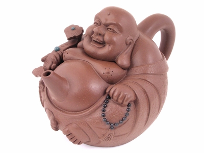 Laughing Buddha with Ru Yi Yixing Teapot