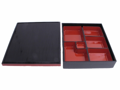 Six Compartment Lacquer Bento Box W/ Lid