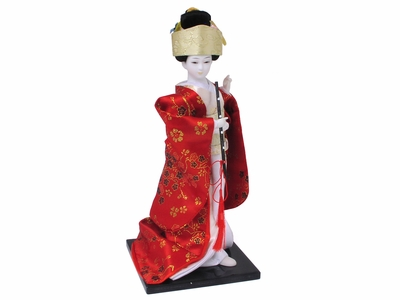 Fabric Geisha Doll in Cherry Blossom Robe