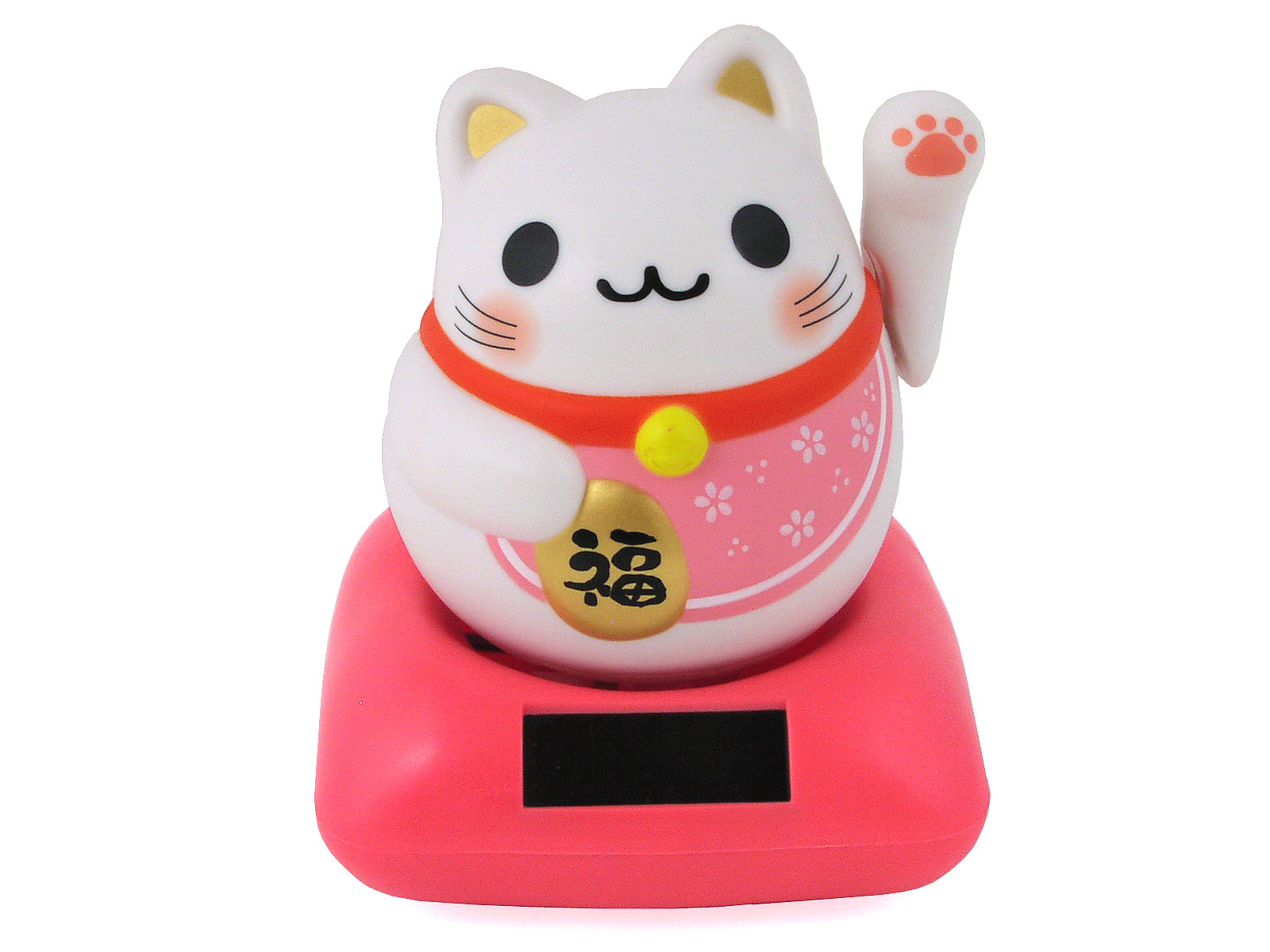 Adorable Cherry Blossom Pink Solar Powered Lucky Cat - photo#29