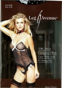 2 PC. Mesh Camigarter with Lace Trim and G-String Set, S/M