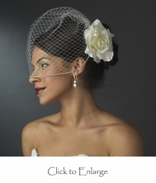 Classic Diamond White Rose on Russian Cage Blusher Veil