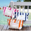 Personalized Striped Canvas Beach Tote Bag