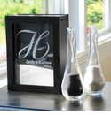 Black Unity Sand Ceremony Personalized Shadow Box Set with Side Vases