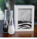 White Unity Sand Ceremony Personalized Shadow Box Set with Side Vases