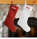 Personalized Quilted Christmas Stocking in White or Red