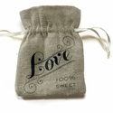 Mini Linen Drawstring Pouch Favors with Love Print (Set of 12)