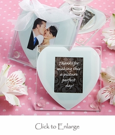 Heart Design Glass Photo Coaster Favors - Available 8/5/2013