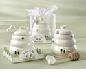 """Meant to Bee"" Ceramic Honey Pot Favors with Wooden Dipper"