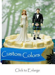 Scottish Groom in Kilt with Fashionable Bride Cake Topper Set