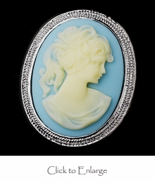 Light Blue & Vanilla Cameo Brooch