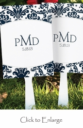 Personalized Damask Design Wedding Favor Fans (Set of 24)