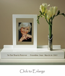 Personalized Wooden Memorial Keepsake Display Stand with Picture Frame (2 Color Options)